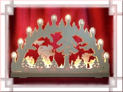 HELA Schwibbogen Weihnachtsmann 3D 16-flammig als Weihnachtsdekoration für's Fenster Original Erzgebirge aus eigener Herstellung