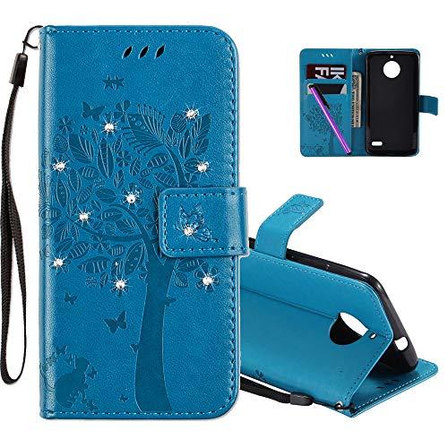 COTDINFOR Motorola E4 Hülle Elegant Retro Premium PU Leder Flip Bookcase Handy Tasche mit Magnet Standfunktion Schutz Etui für Motorola Moto E4 Blue Wishing Tree with Diamond KT.