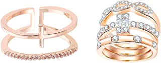 Baoblaze 3 Pieces Crystal Cubic Rings & Double Band Rings Open Adjustable Finger Ring