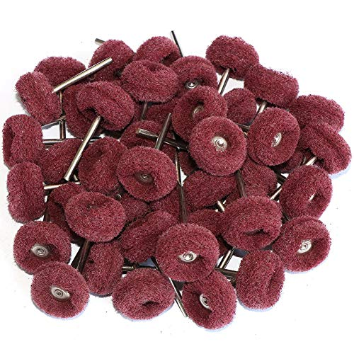 FPPO 50PCS Abrasive Buffing Polishing Wheel Set For Rotary Tools,Removal of Rust Deburring on Metal Surface with 3mm Shank,Mini scouring pad Brush Polishing kit(grit 320 red 50pcs)