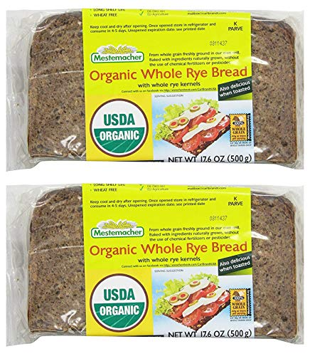 Mestemacher Bread Organic Whole Rye Bread From Germany 500g Pack of 2 Kosher