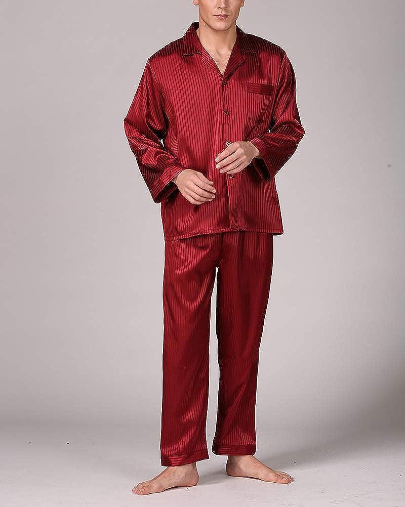 nuoshang Men's Satin 2 Pieces Striped Long Sleeve Sleepwear Pajamas Pants Set Loungewear