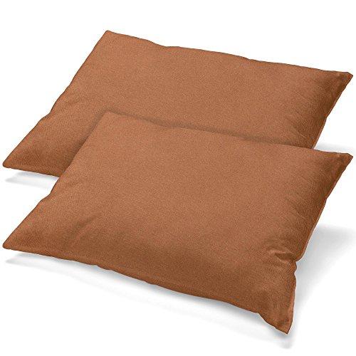 aqua-textil Classic Line Housse de Coussin Lot de 2 Fermeture Éclair Coton 40 x 80 cm Marron Chocolat