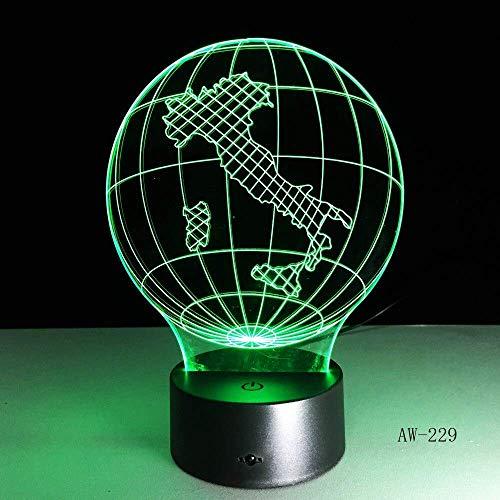3D-nachtlampje, Italië Earth Map Light 3D-visuele LED-lamp kleur paddenstoel USB slaapkamer kleine bureaulamp 7 kleuren veranderende LED-bureaulamp