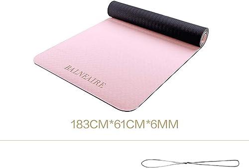 GMMMats Tapis de Yoga antidérapant épais de TPE, Tapis écologique de Pilates antidérapant texturé (pour Femmes et Hommes) (Couleur   rose)