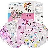50 Pezzi MADE IN ITALY Mascherine Bambini Colorate protettiva colorata personale 3 strati CE tipo IIR, Nasello Regolabile, Pacchi individuali