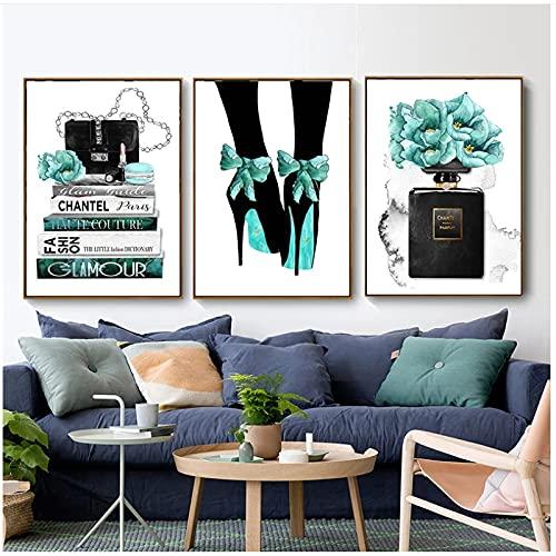 Lienzo nórdico, imágenes artísticas para pared, impresiones y carteles, moda para mujeres, bolsos de París, perfumes, tienda de ropa, pintura de pared