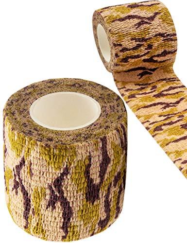 Outdoor Saxx® - Camouflage Tarn-Tape, Gewebe-Band, Tarnung wasserfest mehrfach verwendbar, Kamera, Ausrüstung, Jäger, Angler, Fotografen, Sand Camouflage, 4.5m