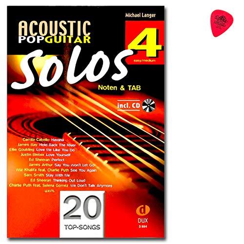 Acoustic Pop Guitar Solos 4 - Notenbuch mit CD und Plek - D884 9783868493306