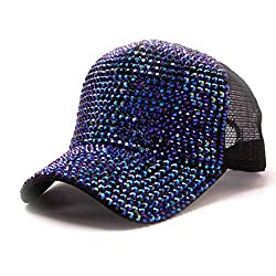 Blue Rhinestone Mesh Breathable Adjustable Sun Hat