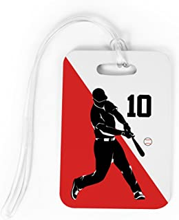 Baseball Luggage & Bag Tag   Personalized Number Baseball Player Batter Silhouette   Standard Lines on Back   MEDIUM   RED