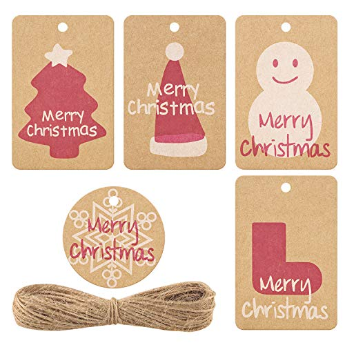Gift Tags,50 PCS Brown Kraft Paper Gift Tags with Twine String Tie on Smooth for Writing - 5 Designs for DIY Xmas Holiday Present Wrap Stamp and Label Package Name Card