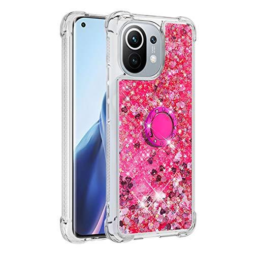 Mi 11 Girly Funda para Xiaomi Mi 11 Diamond Ring Case, Bling Quicksand híbrido a prueba de golpes suave TPU Bumper Cover (funciona con soporte para coche) (rosa)