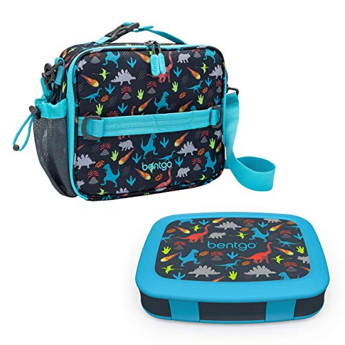 Bentgo Prints Insulated Lunch Bag Set With Kids Bento-Style Lunch Box (Dinosaur)