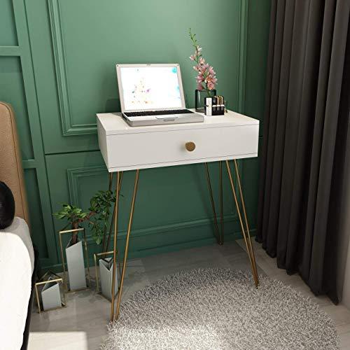 N/Z Tägliche Ausrüstung Weiß Schminktisch Set Modern Vanity Makeup Schreibtisch für Mädchen Frauen Schlafzimmer Holzplatte + Gold Metallbeine