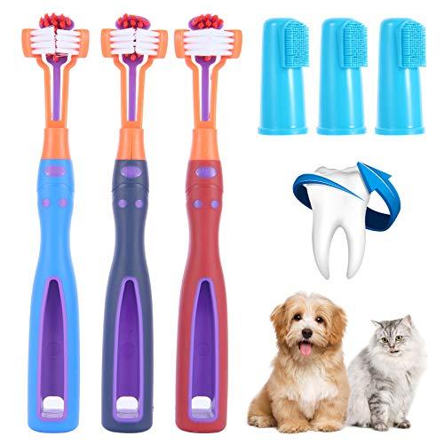 HJK 3PCS Cepillo de Dientes para Perros, Elikliv Cepillo de Dientes para Mascotas, Cepillo de Dientes de Silicona Suave, Largo Cuidado para Perros y Gatos en Casa