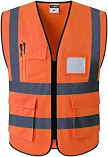 Reflective Stripes Safety Vest for Man Adjustable Safety Suit Multi-Pocket Breathable Fabric with Zipper Vest for Cycling Work Motorcycle (Color : Orange, Size : 2XL chest120cm)