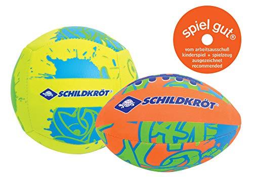Schildkröt Mini-Ball-Duo Pack, Set bestehend aus 1 Volley und 1 American Football, Ø 9 cm, griffig und salzwasserfest, ideal für Strand und Wasser, 970281