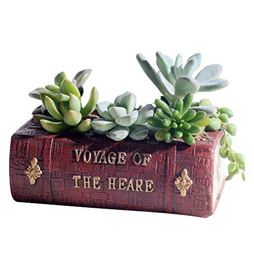 COMVIP Forme Livre Pot de Fleurs Plantes en Résine Créatif Décoration Chambre Bureau 14x10.5x5cm Livre