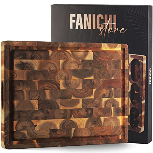 FANICHI Extra Large & Thick Acacia Wood Cutting Board 17 x 13 x1.5 Inch, End Grain Wood 3 Built-In Compartments and Juice Canal, Heavy Duty Chopping Board, Thick Carving Board for Bread Fruits Meats