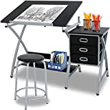 Adjustable MDF Drafting Table Art & Craft Drawing Desk Art Hobby Folding w/Stool and Drawer