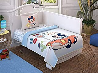 100% Cotton Baby Bedding Mickey Mouse Themed Bedspread Coverlet (Pique) Set with Fitted Sheet for Baby Boys, 4 Pieces