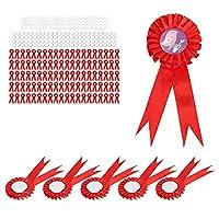 誕生日バッジ、ブリキバッジピン耐食性100パーティーの集まりのためのクリスマスのイースターの父の日に設定(赤)