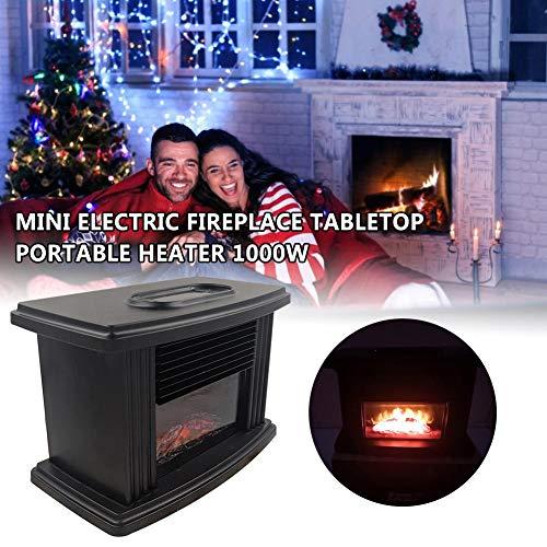 gaeruite Mini Chimenea eléctrica, Calentador de Estufa de Chimenea eléctrica portátil de 1000 vatios con Calentador de Mesa de Efecto de Llama