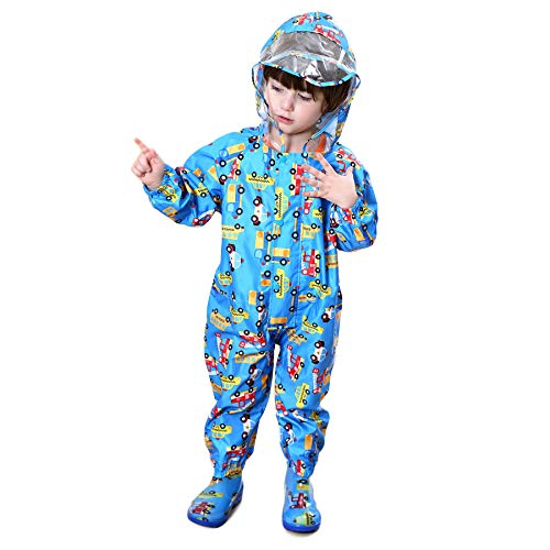 LIVACASA Unisex Tuta Impermeabile Bambino Poncho Antipioggia Bambina con Cappuccio Leggero con Stampato per Bambini 1-7 Anni Blu(Auto) Marca S 1-3 Anni/Statura: 75-90cm