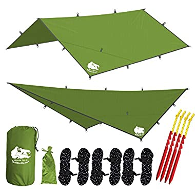 Chill Gorilla 12' HAMMOCK RAIN FLY TENT TARP Waterproof Camping Shelter. Essential Survival Gear. Stakes Included. Lightweight. Easy to setup. Made from RIPSTOP Nylon GREEN