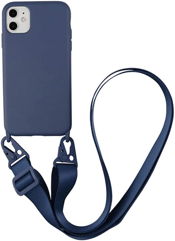 Arlgseln Necklace Silicone Case Compatible with Samsung Galaxy S21, Soft Cell Phone Protective Cover+Adjust Crossbody Necklace Lanyard Case for Samsung Galaxy S21 2021 (Navy Blue, S21)