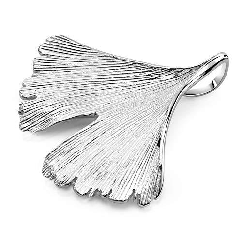 MATERIA Anhänger Ginkoblatt Silber 925 groß KA-277-Silber_ohne Kette
