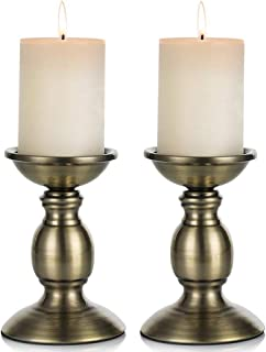 Pcs of 2 Black Metal Pillar Candle Holders for 3 inches Dia Candle, Wedding Centerpieces Candlestick Holders Stand Centerp...