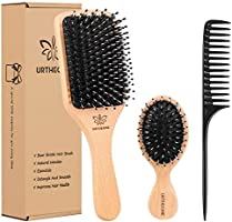 Boar Bristle Hair Brush and Comb Set for Women Men Kids, Best Natural Wooden Paddle Hairbrush and Small Travel Styling...