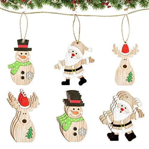 KATELUO 9 Piezas Colgante Navideño de Madera, DIY Madera Colgante Adornos, Decoración del árbol Navideño, Decoraciones navideñas Adornos de Navidad Madera, para Árbol de Navidad y Decoración de Fiesta