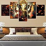 Ayhuir Décor À La Maison Art Affiches Affiches Peinture 5 Panneau Seigneur Ganesha Toile Mur Modulaire Cadre Éléphant Photos Pour Salon40X60Cmx2 40X80Cmx2 40X100Cmx1 Frame