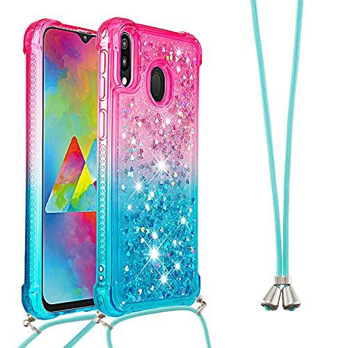 Handykette Handyhülle für Samsung Galaxy A20e Hülle,Glitzer Quicksand kreatives Fließende Flüssigkeit schwimmt Silikon Hülle mit Umhängeband Handykordel Band Kette für Galaxy A20e,YB GS Pink Blue