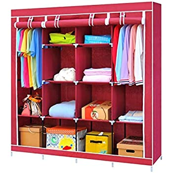 Lukzer 6 + 6 Shelves Waterproof Portable Collapsible Wardrobe Storage Organiser, Easy to Assemble (Wine Red)