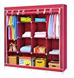 Lukzer 6 + 6 Shelves Waterproof Portable Collapsible Wardrobe Storage Organiser, Multipurpose Easy to Assemble 12 Shelves Clothes Rack for Home (Wine Red)