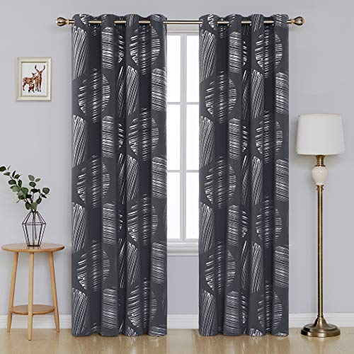 Deconovo Foil Print Thermal Insulated Blackout Curtains Grommet Top Window Panels for Dining Room 52 x 84 Inch Dark Grey 2 Panels