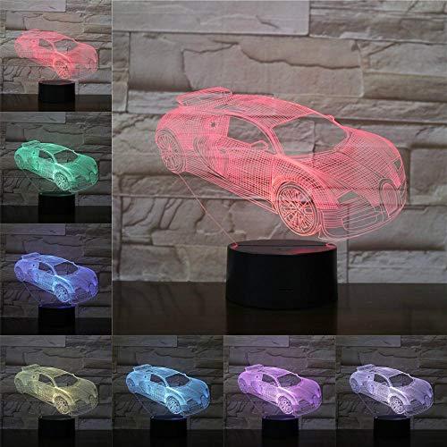 Coole race illusie nachtlampje 3D LED tafel bureaulampen, 7 kleuren USB opladen bedlampje slaapkamerdecoratie voor kinderen Kerstmis verjaardagscadeau