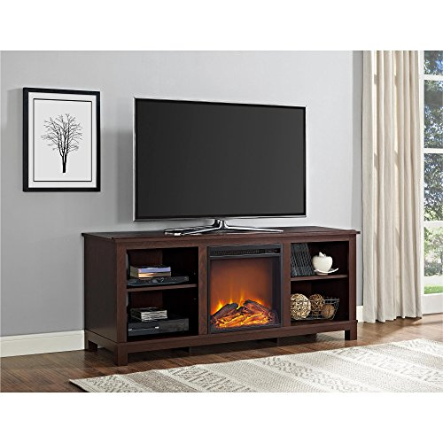 """Ameriwood Home Edgewood TV Console with Fireplace for TVs up to 60"""", Espresso"""