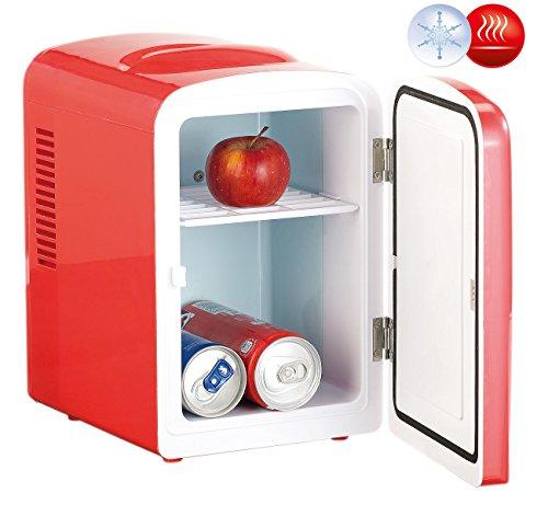 Rosenstein & Söhne Mini Dosen Kühlschrank: Mini-Kühlschrank mit Warmhalte-Funktion, 4 Liter, für 12/230 Volt, rot (Kleiner Kühlschrank)