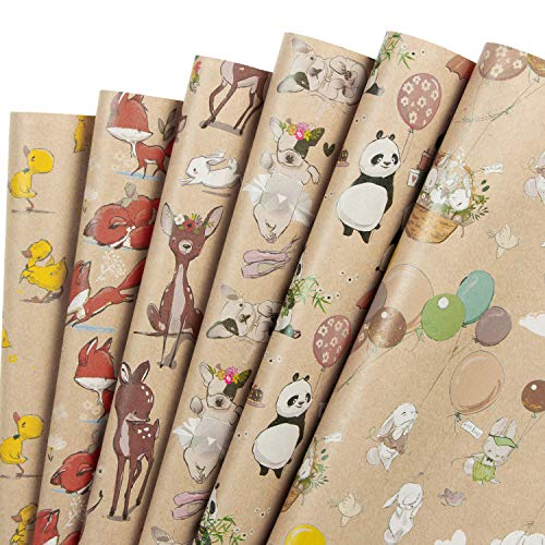 RUSPEPA Kraft Wrapping Paper Sheet - French Bulldog/Rabbit/Fox/Panda/Sika Deer/Duck Printed Spring Party Great for Baby Shower, Holiday Gifts - 6 Sheets Packed as 1 roll- 17.5 x 30 Inch per Sheet