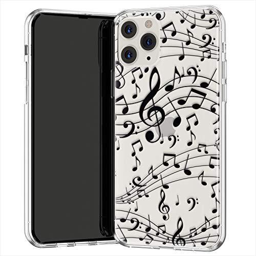 Lex Altern TPU Custodia per Apple iPhone 12 Pro SE 11 Xs Max Xr 8 7 Plus 6 + Treble Clef Morbida Nero Cover Melody Disegno Carina Trasparente Musica Copertina Cantante Case Leggero uk0115