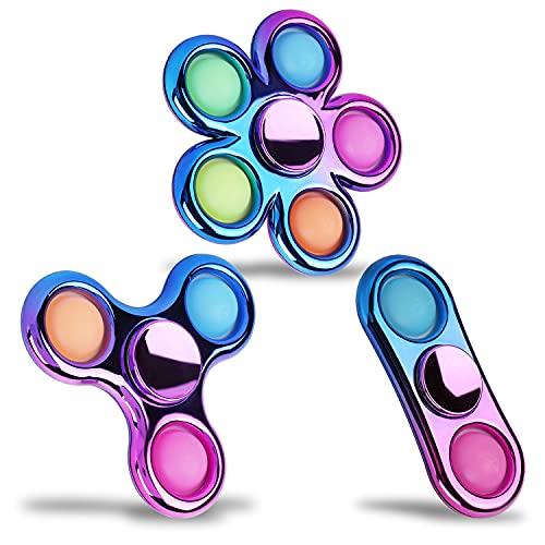 FIGROL - Juguete para ansiedad spinner, paquete de 3 unidades, spinners con burbujas para presionar con aspecto de metal, juguetes para ansiedad spinners con los colores del arcoíris y burbujas para presionar, spinners para aliviar la ansiedad, TDAH, estrés, lindos colores, para niños