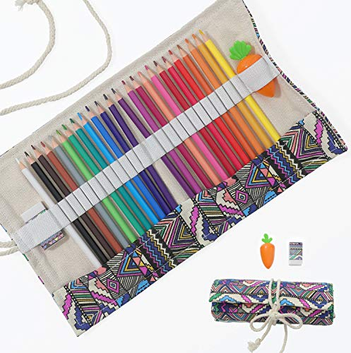 Colored Pencils Set for Adults and Kids Drawing Pencils for Sketch Arts with Eraser Sharpener Canvas Carry Pouch 24Color