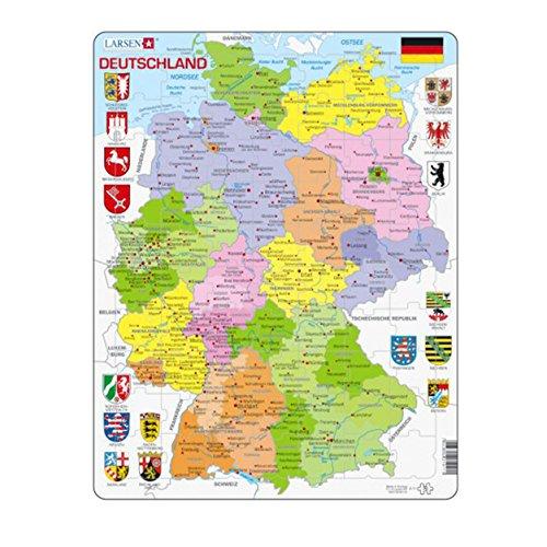 """Larsen A11 Rahmenpuzzle """"Deutschland - politische Karte II"""" 70 Teile"""