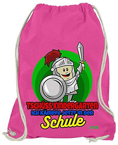 Hariz - Bolsa de Deporte con Mensaje en alemán Tschüss Kindergarten Ich Kämpfe Jetzt In Der Schulung, Incluye Tarjeta de Regalo, Color Rosa, tamaño Talla única