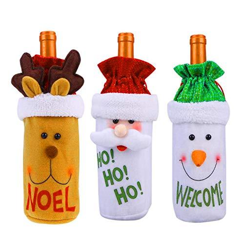 3pcs Navidad Funda para Botella de Vino Papá Noel Cubierta de la Botella de Vino de Regalo Bolsas para Decoración...